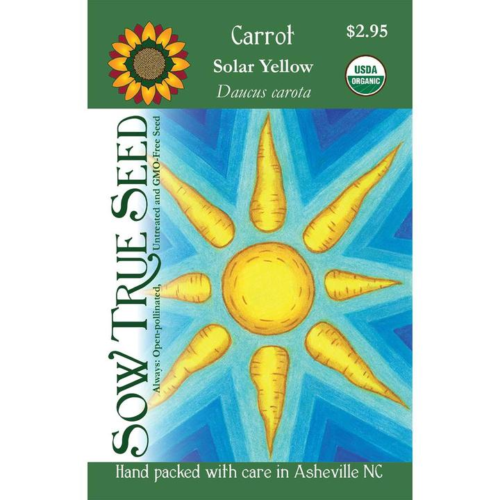 Solar Yellow Carrot Seed Packet Illustrationq